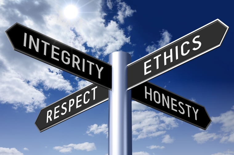 Signpost with four arrows - business ethics
